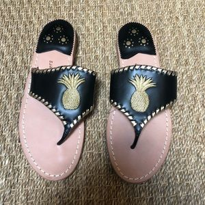 New black & gold jack Rodgers sandals pineapple